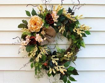 Fall wreath, summer wreaths, front door wreaths, Autumn, farmhouse wreath, country home decor, twig wreath, rustic wreath, berry wreath