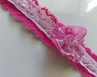Pink and white lace choker   Stretchy choker   Kids choker   Unique choker   One of a kind choker   Hot pink choker   Lace choker   Collar