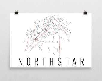 Northstar Ski Map Art, Northstar, Lake Tahoe, California, Northstar Trail Map, Resort, Snowboard Art, Snowboard Wall Art, Snowboard Decor