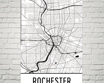 Rochester Map, Rochester Art, Rochester Print, Rochester NY Poster, Rochester Wall Art, Rochester Poster, Rochester Gift, Rochester Decor