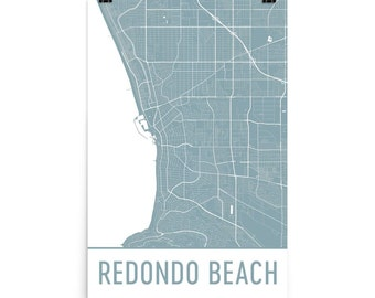 Redondo Beach Map, Redondo Beach Art, Redondo Print, Redondo Beach CA Poster, Redondo Beach Wall Art, Map of Redondo Beach, Map, Gift, Print