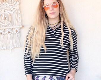 Vintage Breton Stripe Shirt Top