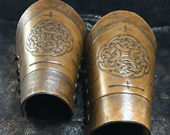 Handmade Leather Arm Cuffs with Ancient Celtic Markings