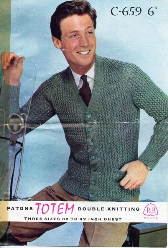Men s Hat Knitting Pattern Dk : mens cardigan knitting pattern pdf dk cable rib v neck jacket
