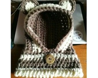 Crochet Cowl Hood Teddy-Bear