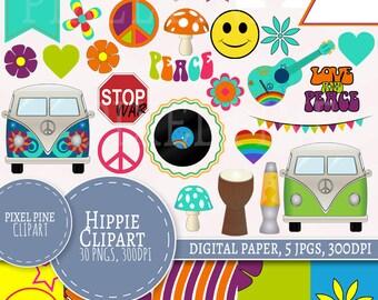 Hippie Clipart Set, 30 PNGs, 5 Hippie Digital Paper JPGs, Commercial Use, Hippie 1970s colourful elements clipart, flower power clip art set