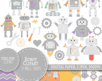 Robot Clipart Set, Cute grey robot digital paper, 25 PNGs, Grey robot clip art PNGs, Commercial Use toy robot set grey and pastel robots