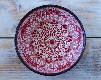 Bowl, red bowl, pottery bowl, decorative bowl, red ceramics, handmade bowl, small bowl, red pottery, handmade pottery, red stoneware
