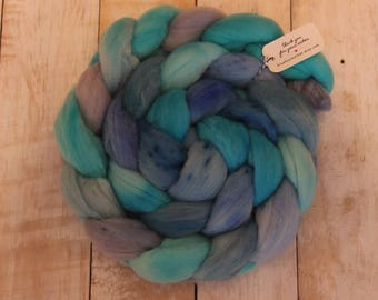 Tropical Waters, 100% Merino Wool Top, Hand dyed, blues, roving, spinning fiber, felting fiber
