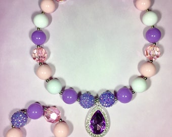 Sofia the First Amulet of Avalor Bubblegum Chunky Necklace Set