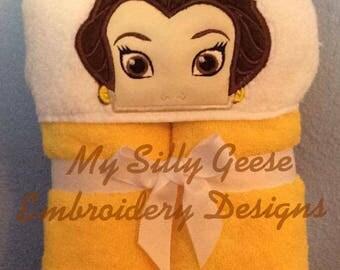 DIGITAL FILE 5x7 Beauty Princess Peeker hooded towel embroidery design hoodie towel topper bow holder