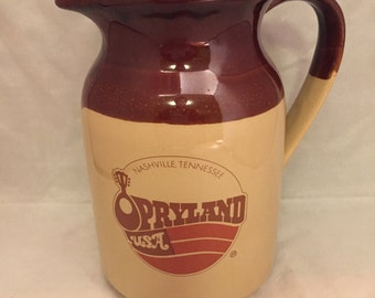 "Vintage 1970s / 1980s Opryland USA Crock / Buttermilk Stoneware Pitcher - 6.5"" Tall"