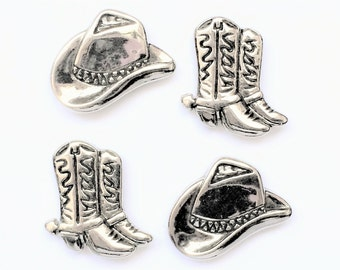 Cowboy Hat & Boots Magnets in Decorative Tin   Set of 4   Super Strong   Fridge Magnets   Silver Magnets   Boots and Bling   Cowgirl Decor