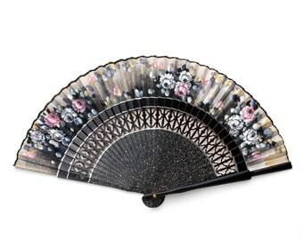 Vintage fan, Japanese blossom fan, 1960's fan, hand painted fan, floral fan, black fan, blossom print fan, floral fan