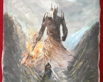 Melkor vs Fingolfin Epic Fantasy Oil Painting | Lord of the Rings, Tolkien