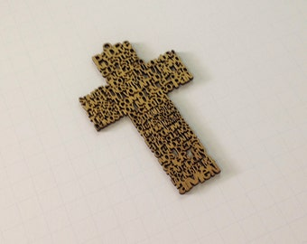 "4.5"" Padre Nuestro Cross Oracion Our Father Prayer Wood Cross Wall Decoration Baptism Christening Favors Spanish Prayer"
