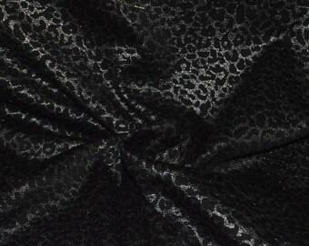 "Black & Silver Leopard Print Ponte Knit Fabric 58"" Wide"