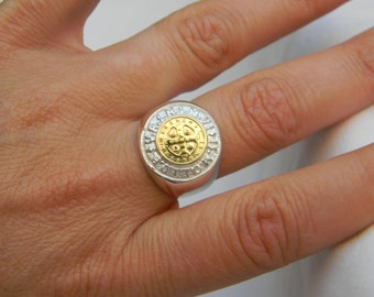 Ring Holy Spirit in 925 silver and Gold
