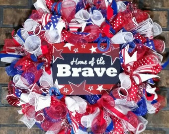 4th of July Wreath,Flag Wreath,Patriotic Wreath,Memorial Day Wreath,Veterans Day Wreath,Red White&Blue Wreath,USA,Front Door Decor,July 4th