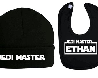 Personalised Jedi Master Star Wars Inspired Beanie Hat and Bib Set Baby Clothes Baby Bibs Baby Shower Gifts Baby Star wars new baby gifts