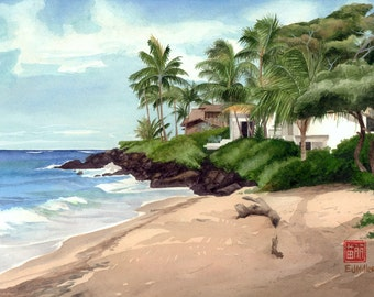 "Poipu Kauai beach art print - 8x10"" Hawaii watercolor painting, Hawaiian artwork, Hawaii palm trees print, Poipu beach painting"