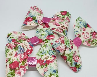 Felt Hair Bow, Floral Bow, Hair Clips, Hair Bows