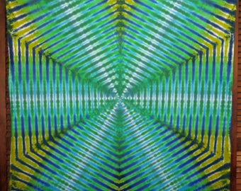 Tie Dye Tapestry Psychedelic Wall Art  Focused Energy  Trippy UV Rays Meditation Tiedye Blue Green Teal Cobalt 58 inch