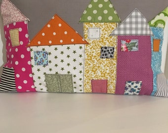 Handmade shabby chic cushion, row of houses
