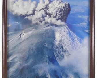 Vintage Framed Photo of the Mt. Saint Helens Eruption