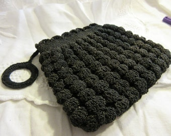 vintage 30's crocheted corde bag, bubble texture, zip top, dangle, deco design, black, excellent condition fun. funky, fabulous