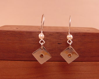 Sterling Silver Earrings with Flush Set Simulated Stones