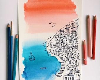 Amalfi Coast original watercolor art print