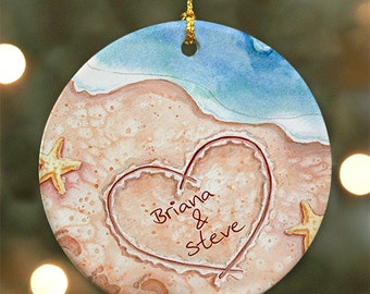 Personalized Couples Beach Christmas Ornament - Personalized with Names written in the sand