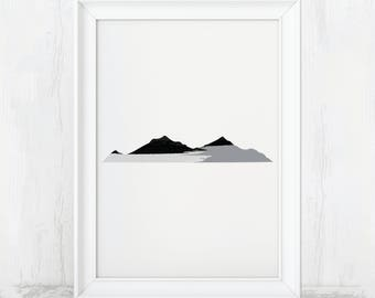 Abstract Mountain, Gray Minimalist, Grey Wall Art, Minimalist Art, Mountain Wall Art, Abstract Landscape, Landscape Wall Art, Minimalist