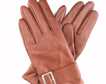 Tan Leather Gloves with Silver Buckle/Size UK M/Retro Gloves/Vintage Gloves/1990s Gloves
