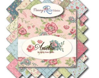 """Riley Blake/Penny Rose Amelia Fabric Collection - 5"""" fabric stackers, 21 piece assortment"""