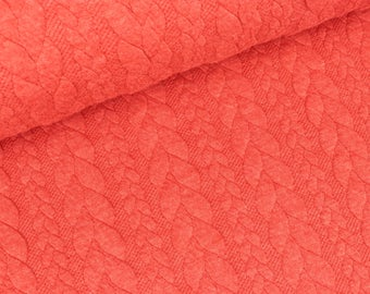 Jacquard Jersey coral with double cable pattern (13.20 EUR / meter)