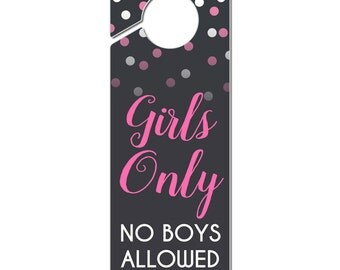 Girls Only No Boys Allowed Plastic Door Knob Hanger Sign