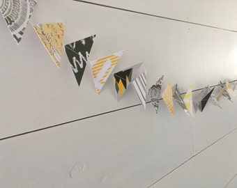 Paper Banner, Paper Bunting, Gray Banner, Gray Bunting, Mountains, Outdoors, Photo Prop, Party Banner, Party Bunting, Party Decor