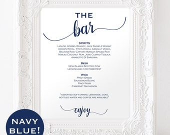 Navy Blue Wedding Menu Sign - Bar menu wedding - Bar menu sign - Drinks Sign - Wedding Bar - Bar menu printable -  Downloadable #WDH0230