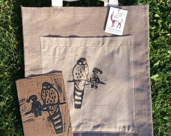 Hawk and Pixie jute bag