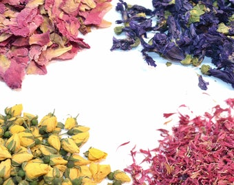 Dried Flower Varietals - 20 Types Of Flowers and Petals - Natural - Abundant Stock - Biodegradable