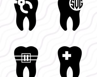 Tooth SVG, Dentist SVG, Tooth Clipart, Tooth Monogram SVG Cut table Design,svg,dxf,png Use With Silhouette Studio & Cricut_Instant Download