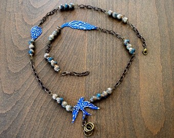Metal Blue Bird and Ceramic Bead Necklace