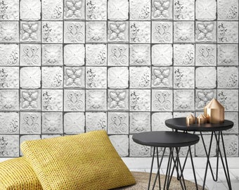 Brooklyn Photo Realistic Tin Tile Effect Wallpaper White