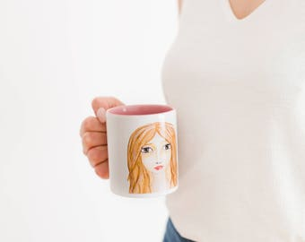 Cup ceramic illustration female face