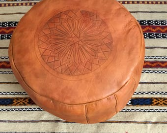 Moroccan handmade traditional orange/siennaleather pouf