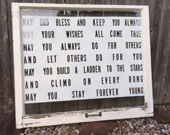 Forever Young lyrics on vintage window