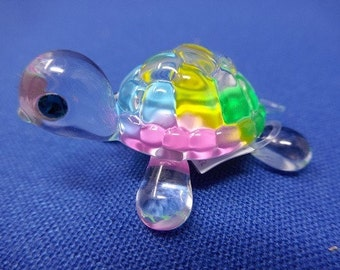 Glass Baron Turtle Figurine - Rainbow Snow Cone