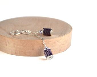 Women's long earrings Purple long earrings Long beaded earrings Long earrings for prom